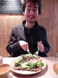 Happy Kenji with his savory galette at Breizh Café.
