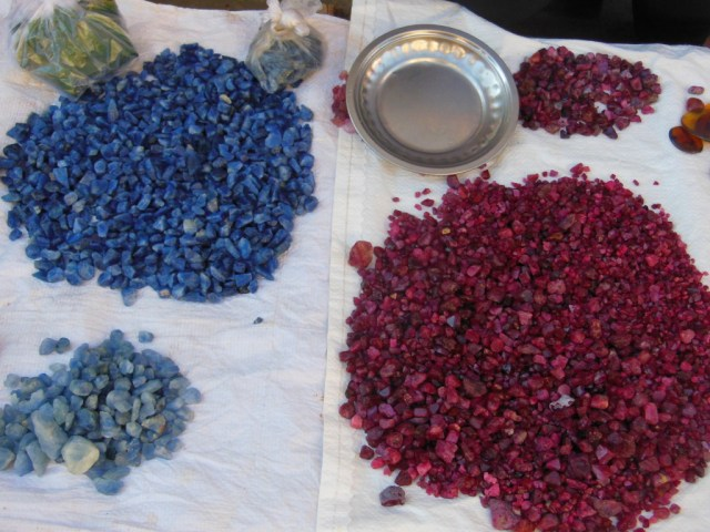 The wealth of Mogok: sapphire, spinel, and ruby. Photo: Traveling Geologist
