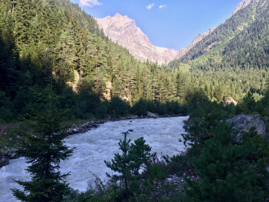 Hiking along the raging Mestiachala River