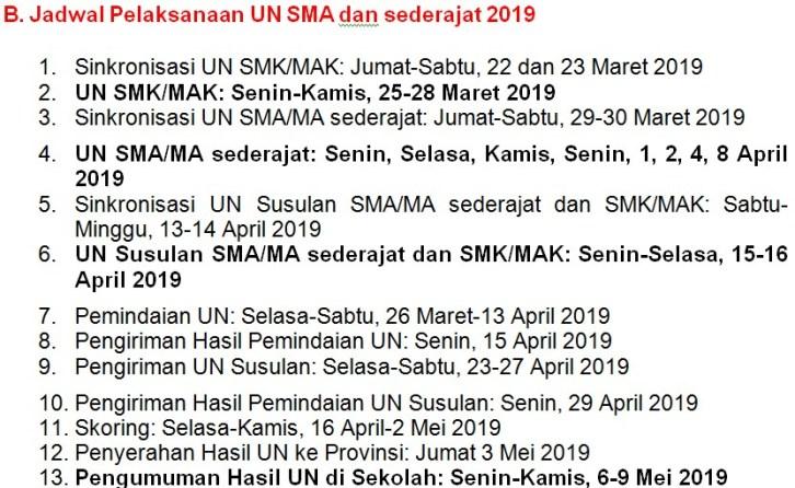 Jadwal Pelaksanaan UN SMA Sederajad Th 2019