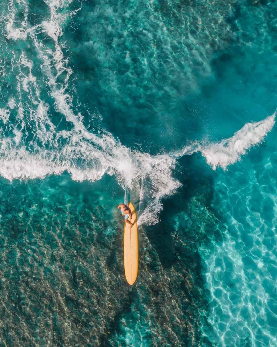 Man surfing in Hawaii