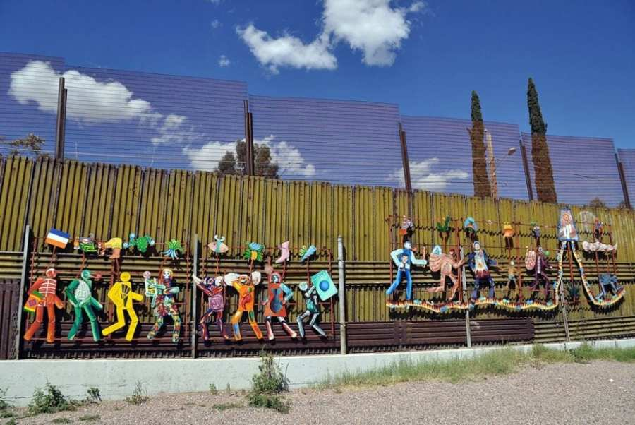Mexican side of the U.S. border wall. Heroica Nogales, Sonora