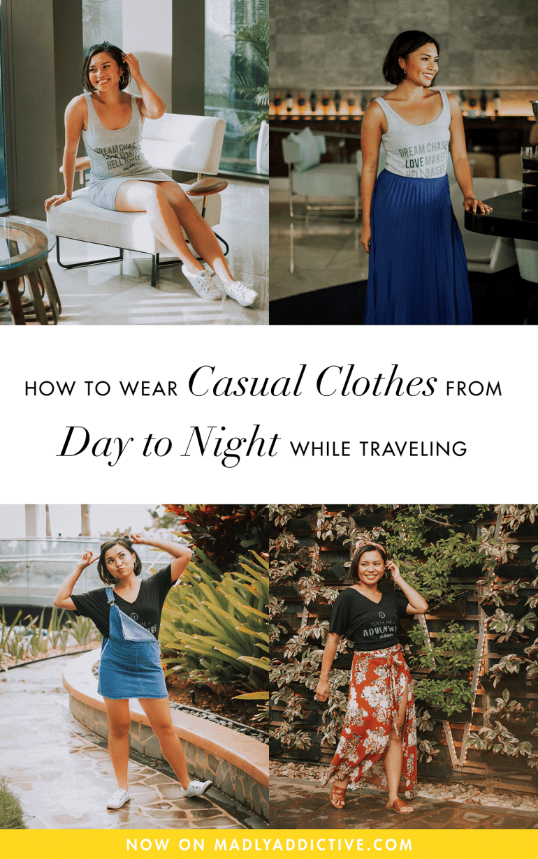 When traveling, it's best to bring versatile items that you can mix & match with to keep your luggage light. Here's how to wear casual clothes from day to night while traveling!