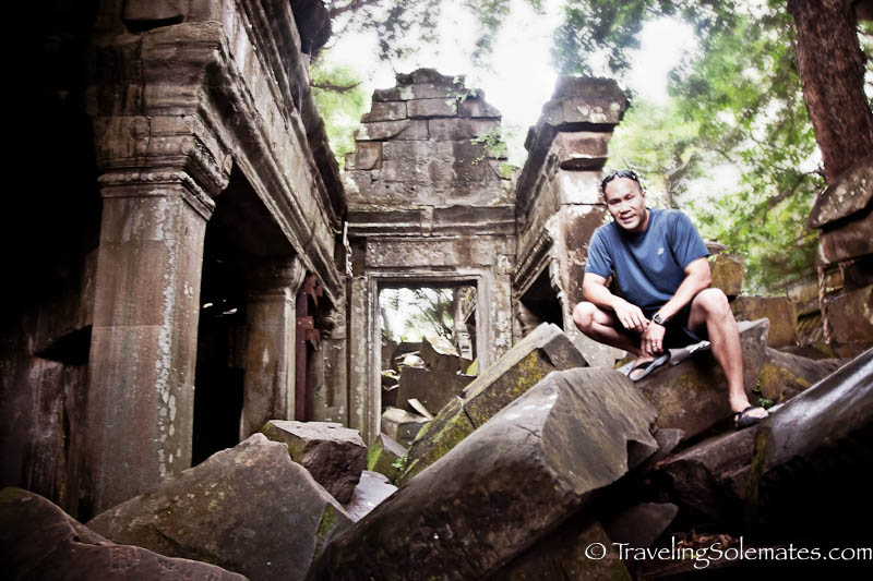 Climbing on the Rubles in Beng Mealea, Cambodia