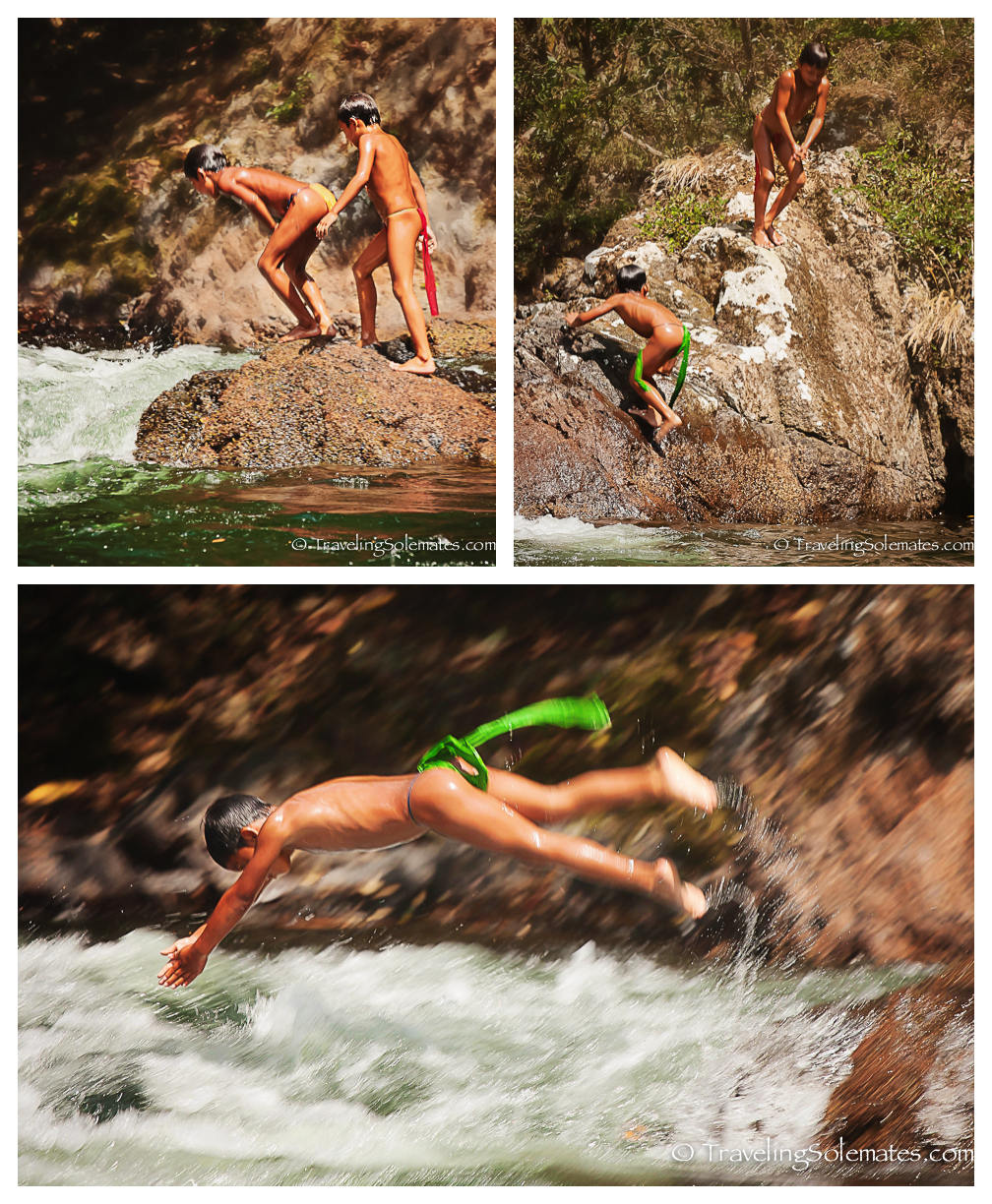 Children diving in river, Embera Village, Charges National Park, Panama