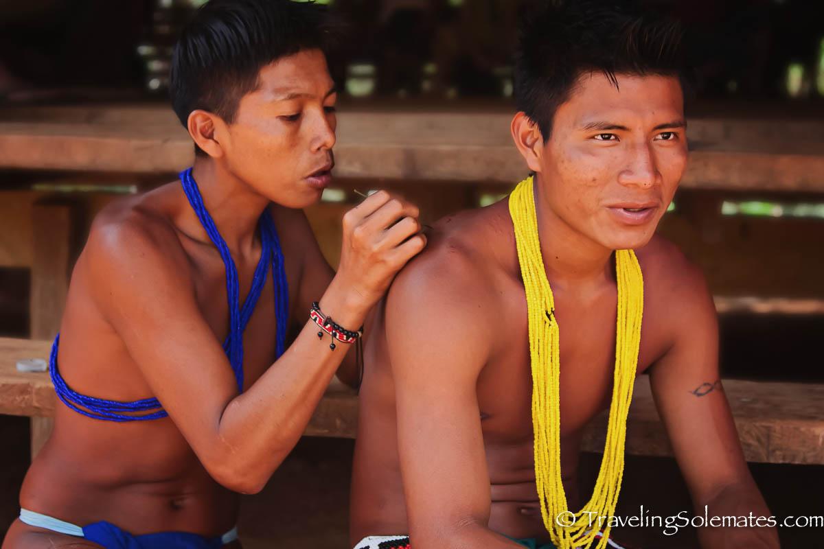 Embera men tatooing, Embera Village, Panama