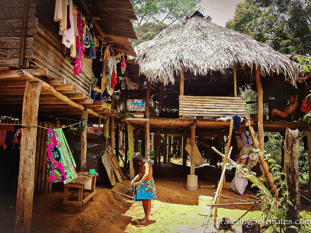 Stilted houses in Embera Drua Village, Panama