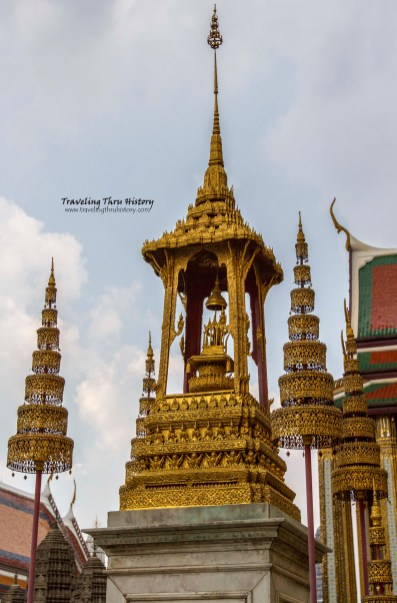 Top of the monument to Rama I, II and III. There are similar shrines around the complex for the subsequent Rama rulers.