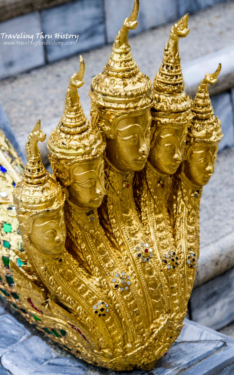 This is the Naga, a five-headed snake god from Thai folklore. These creatures protect each stairway leading up to Phra Mondop.