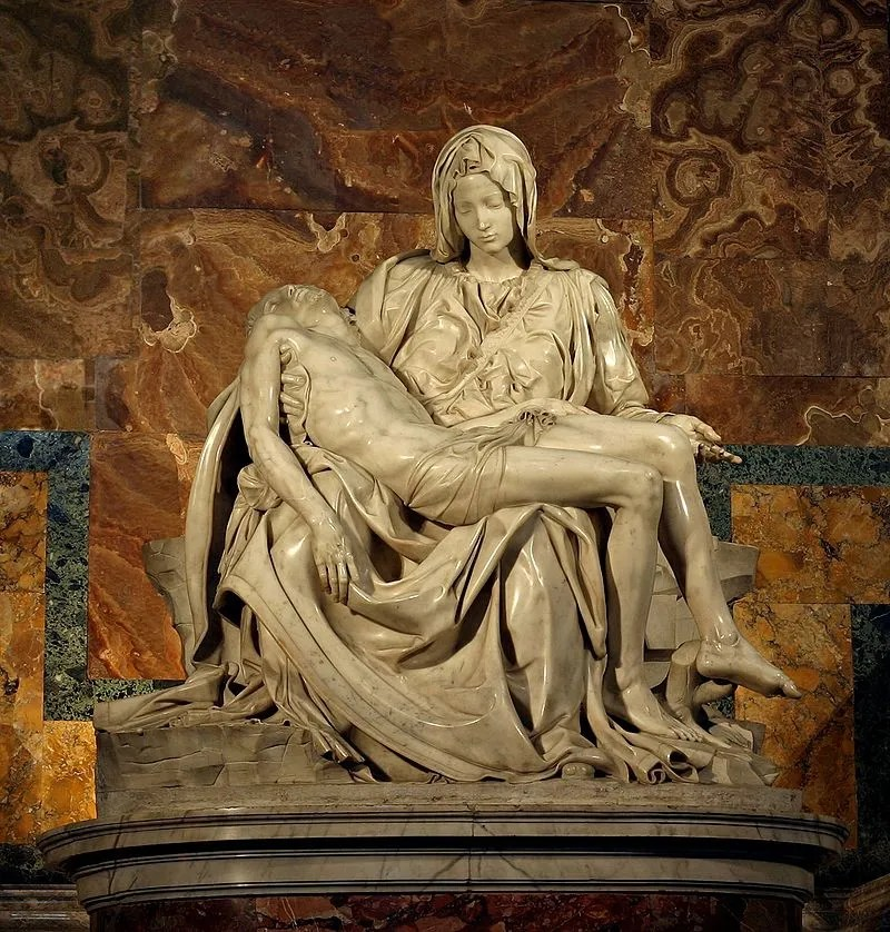 """Michelangelo's Pieta 5450 cropncleaned edit"" by Stanislav Traykov Licensed under CC BY Wikimedia Commons"
