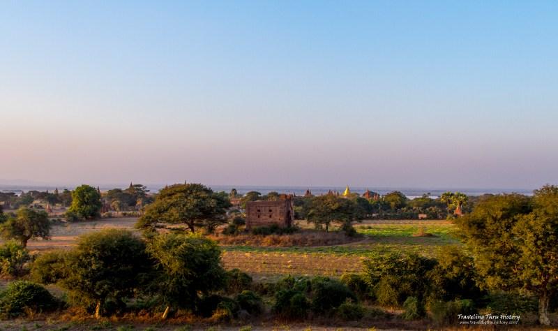Sunset, Bagan, Landscape, Myanmar, Temple, Stupa, Monastery, ancient, ruins, Leimyenthna Monastery