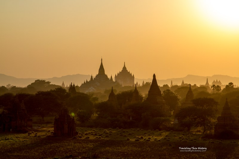 Sunset, Bagan, Landscape, Myanmar, Temple, Stupa, Monastery, ancient, ruins