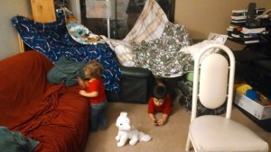 The Little Roamers enjoying a tent in the living room.