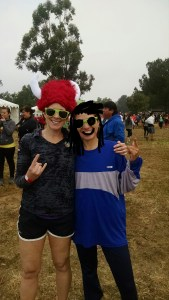 Warrior Dash in march. Tonya and I getting ready to get muddy...(that is not my real hair :)   )