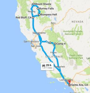 2016 California road trip route