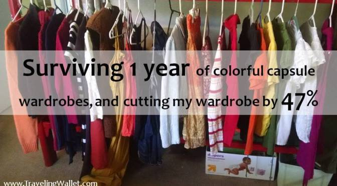 Surviving 1 year of colorful capsule wardrobes, and cutting my wardrobe by 47%