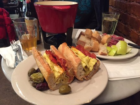 Sandwich and fondue at Vintner Wine Market NYC.