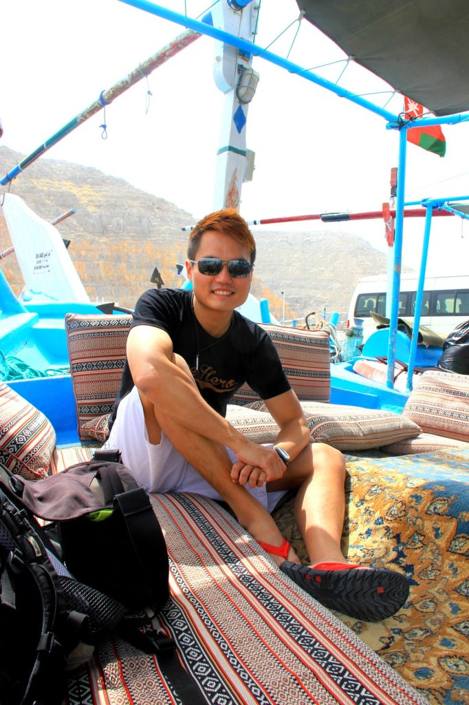 Chillax at the front of the Dhow Boat at Khasab Port