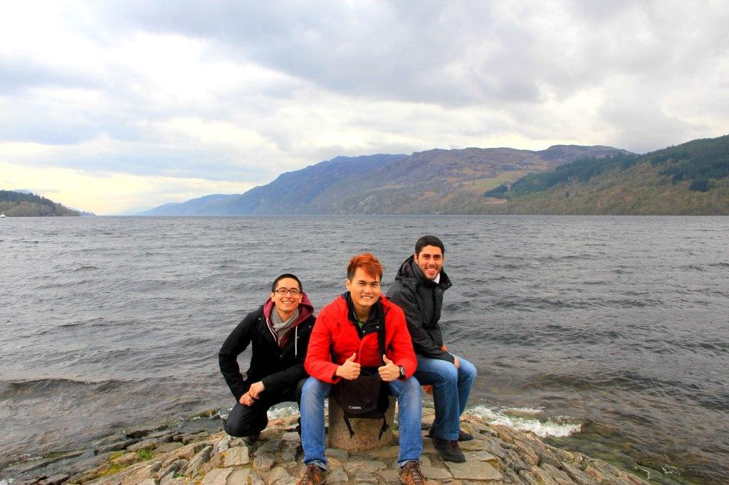With Bruno and Samir (Brazilian) at Loch Ness, Scotland