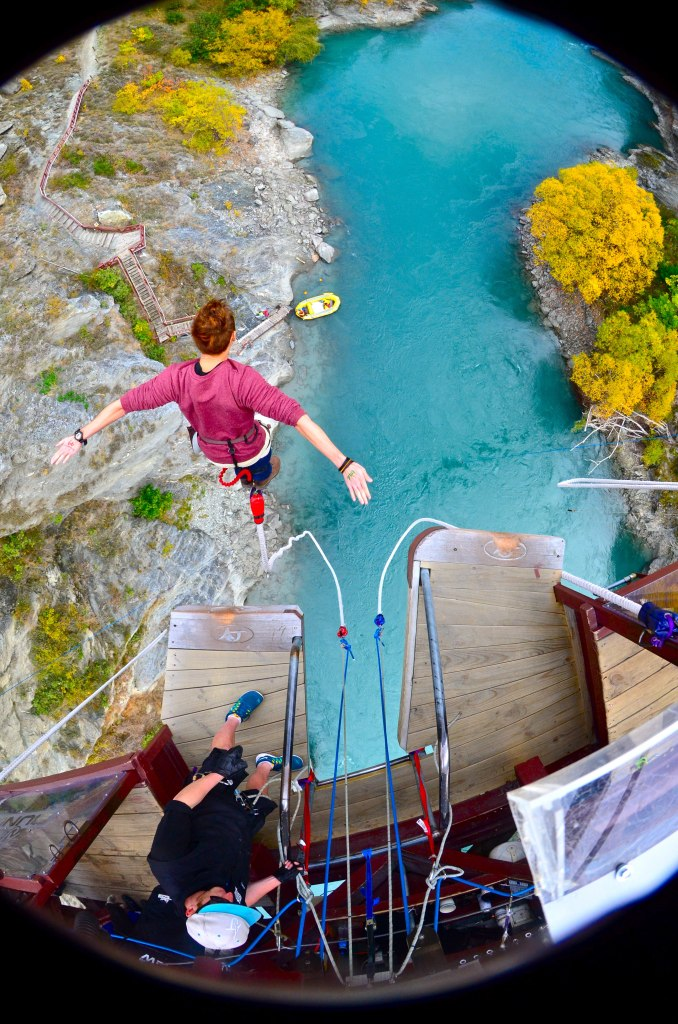 Brother Ryan jumping off the bridge in New Zealand