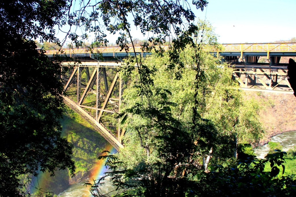 A double rainbow bridge that connects Zimbabwe and Zambia
