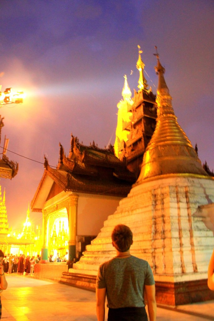 Observing the colours of the diamonds changed at Shwedagon Pagoda