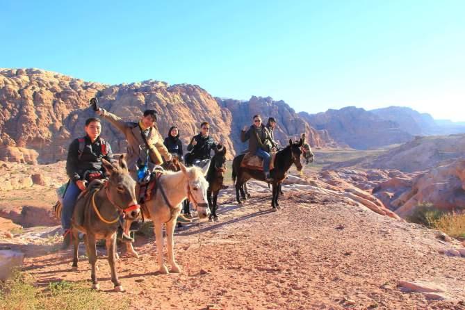 Riding donkeys in exotic Jordan! :-)