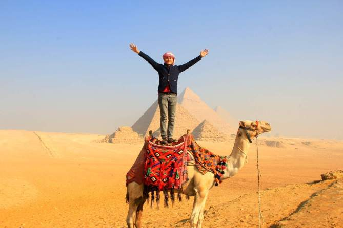 The Pyramid of Giza with my camel guide