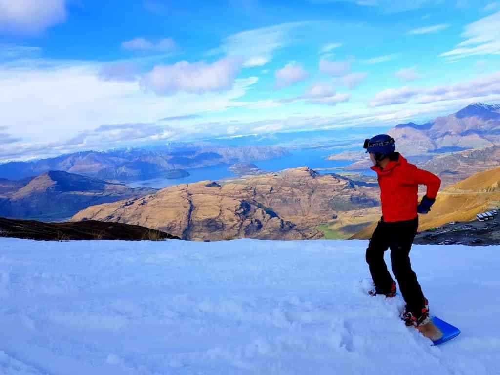 Snowboarding in Treble Cone, New Zealand