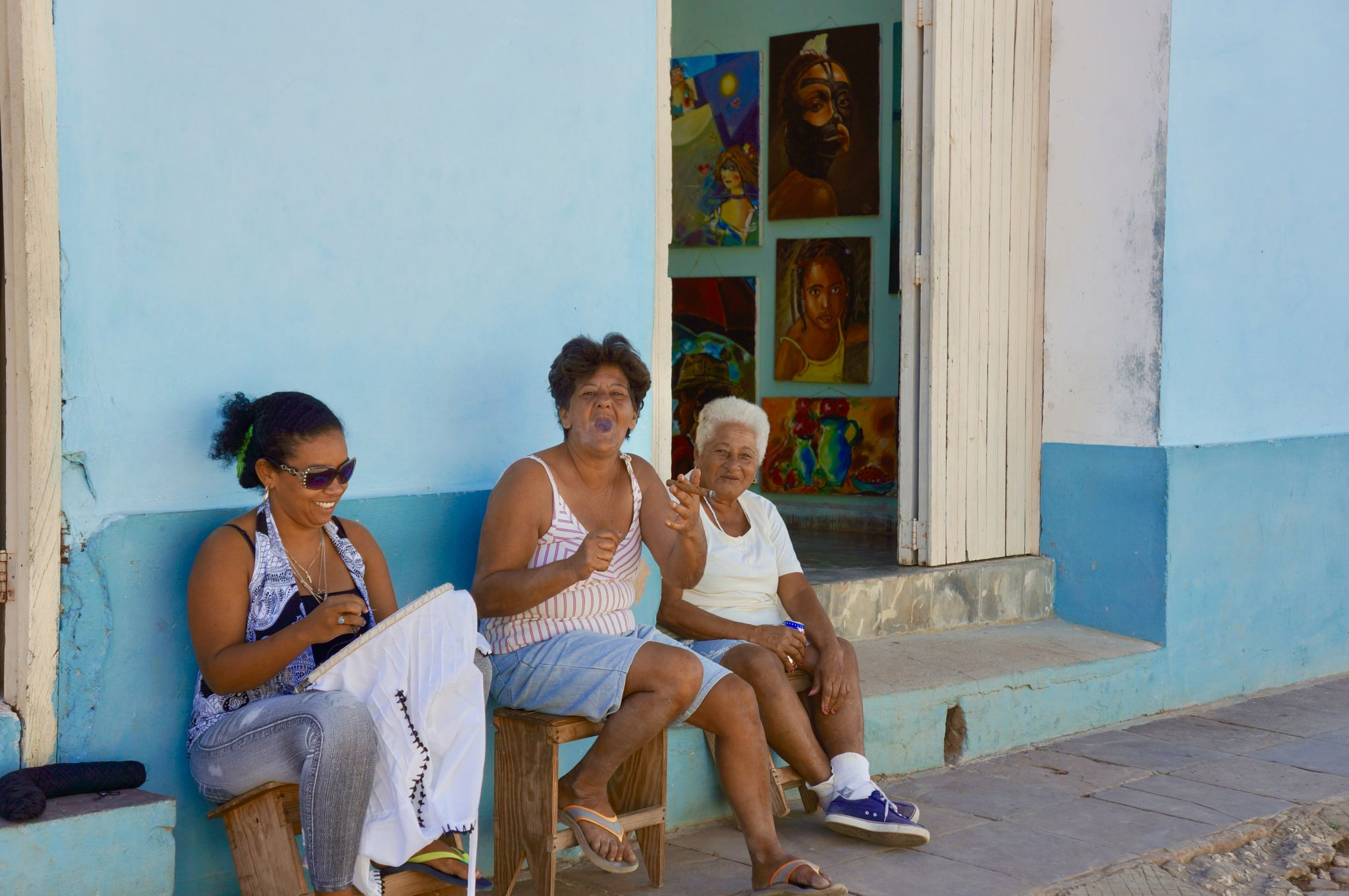 Cuban ladies smoking cigars in Colonial Trinidad.