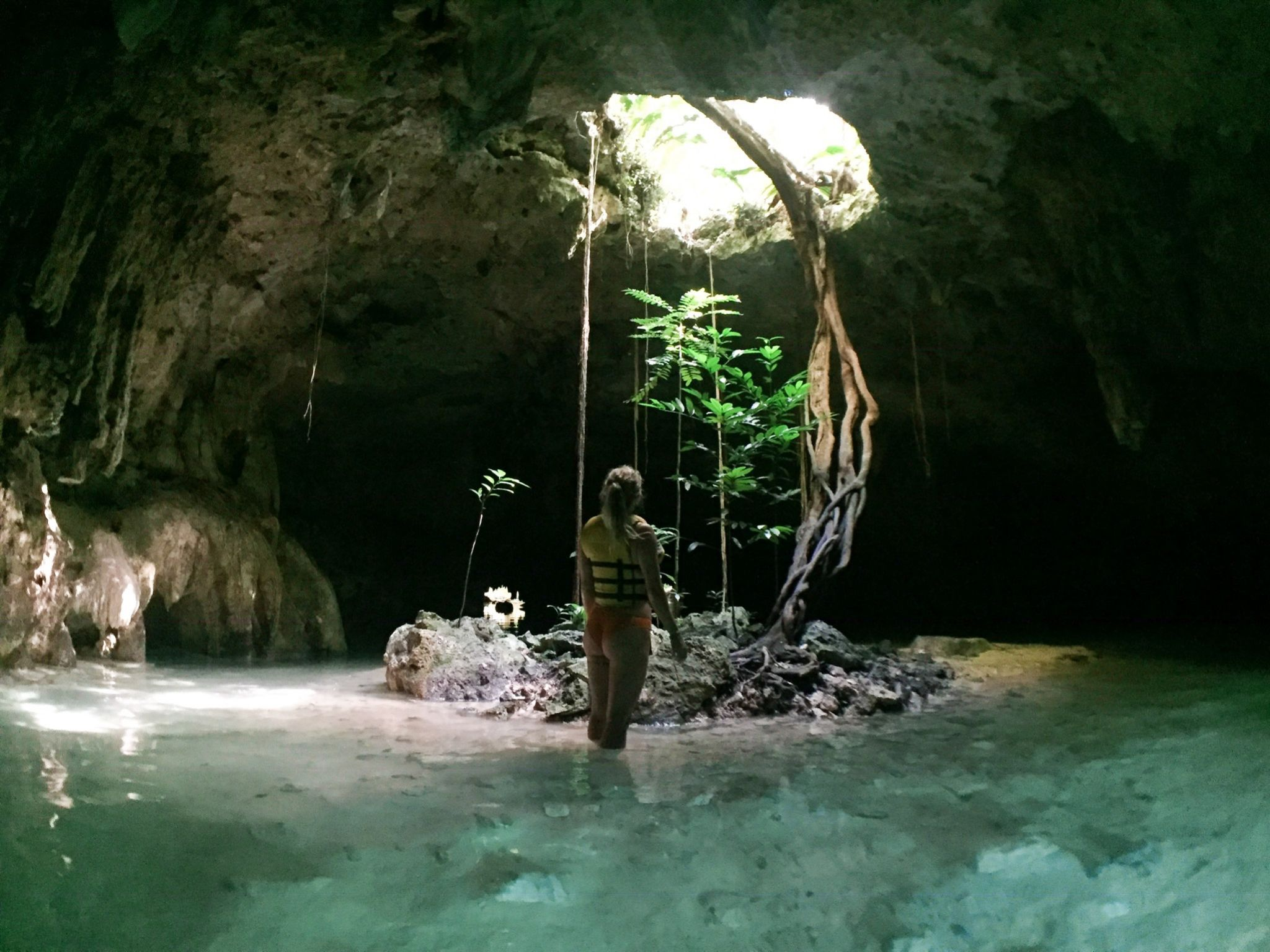 Picture of Travel Jael exploring the world's largest underwater cave-network Sac Actun in Mexico.