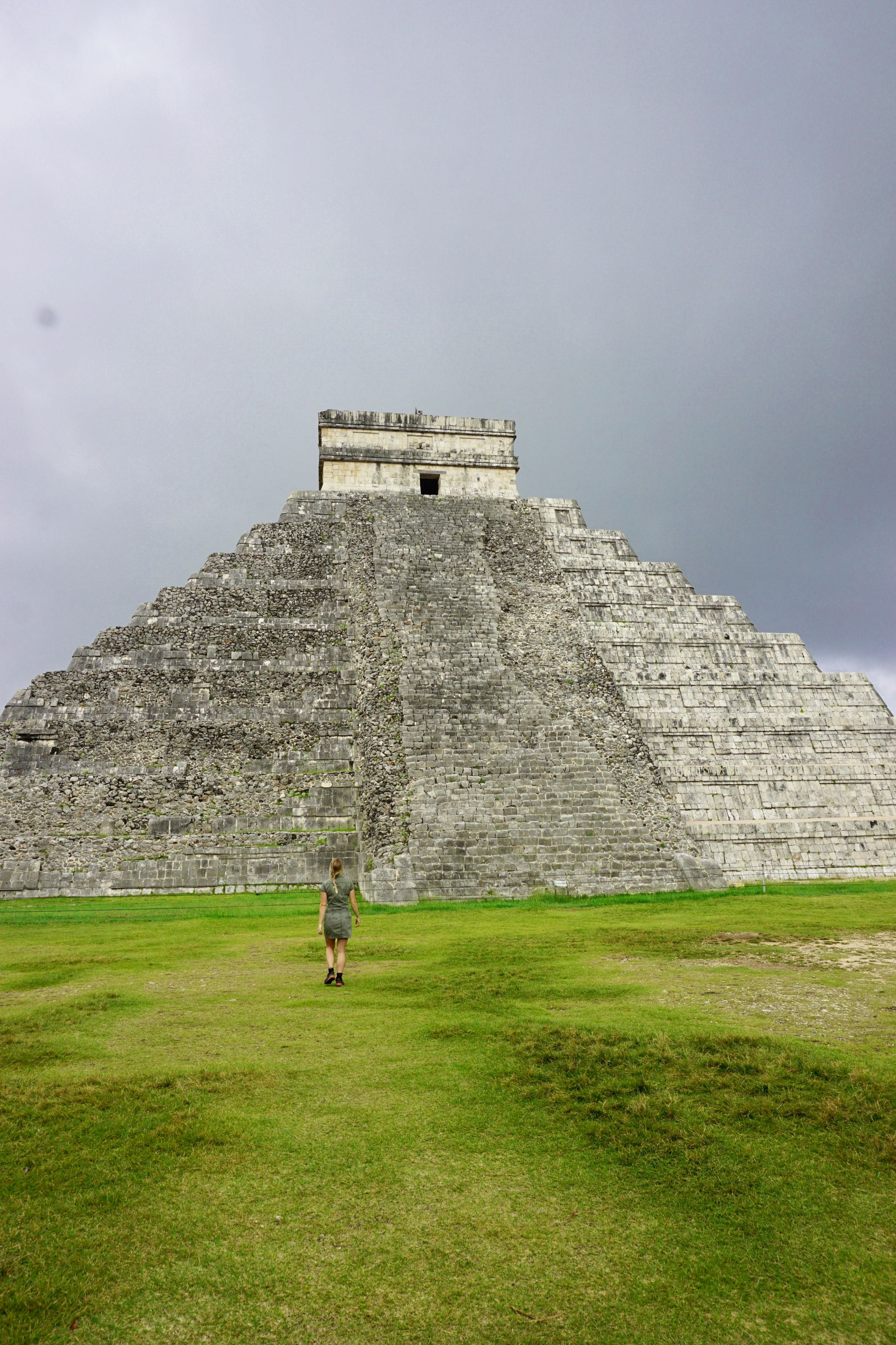 Admiring the impressive Pyramid of Kukulkan in Chichen Itza