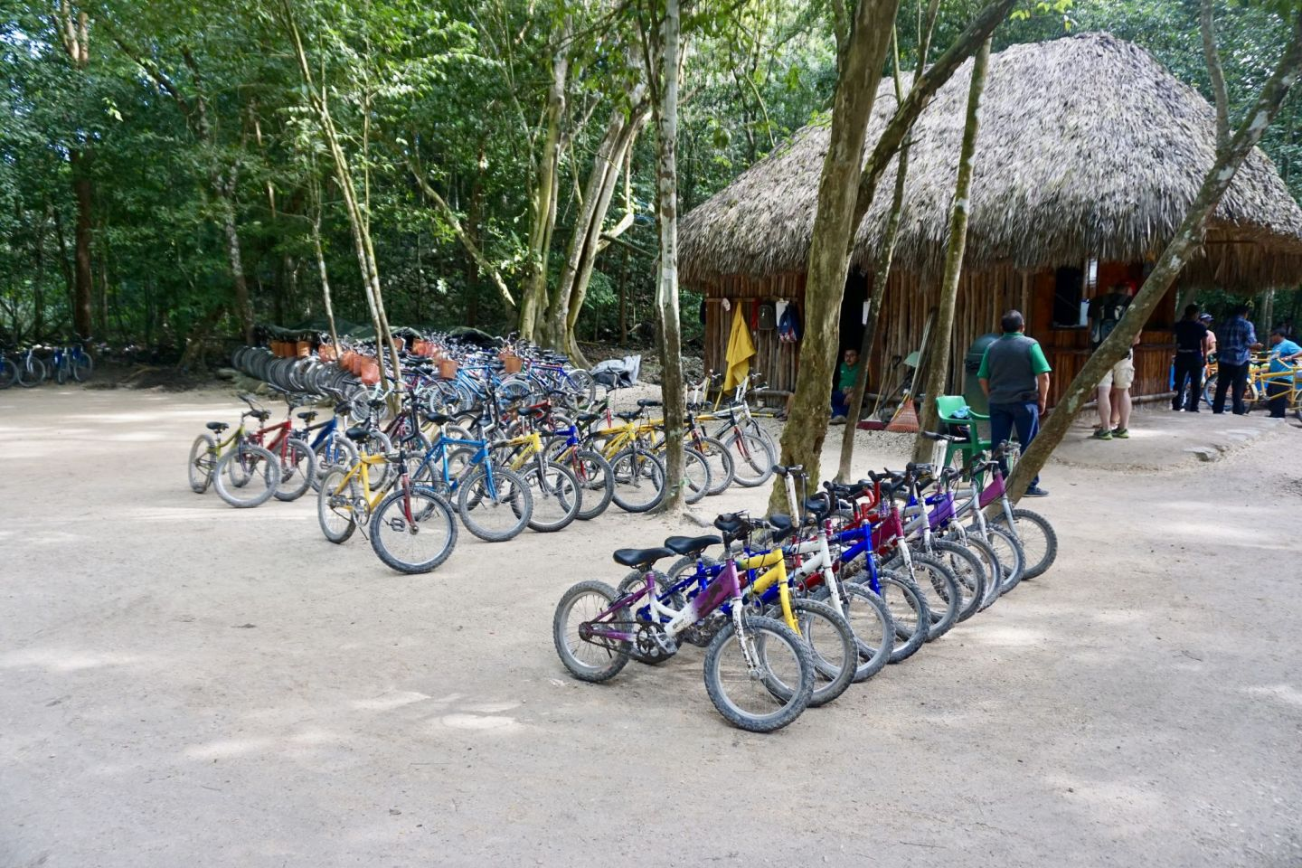 At Cobá you can rent bikes to explore the ancient Mayan city