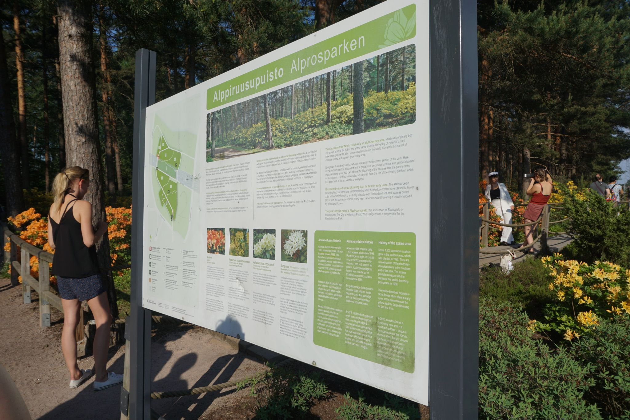 Information boards with maps of the Rhododendron Park