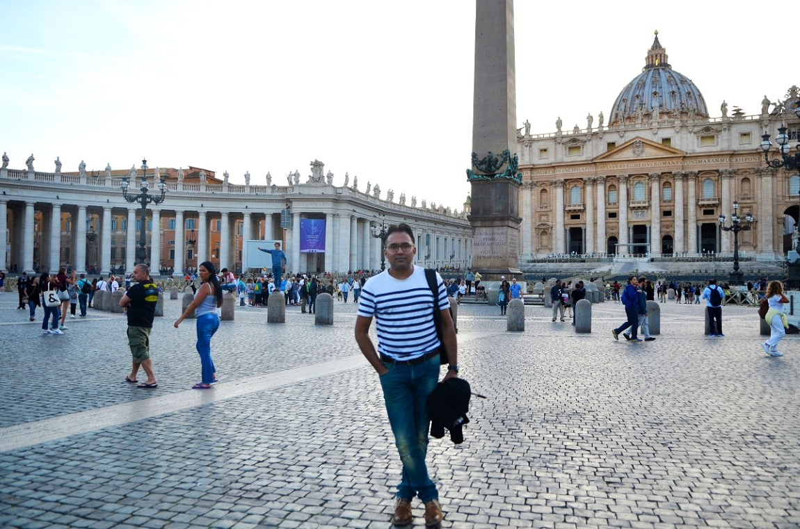 Sudeep in St Peter's Square, Italy