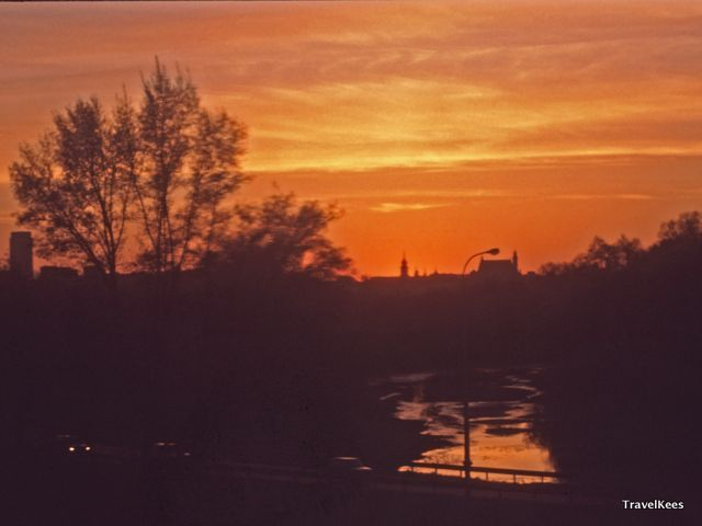 zonsondergang boven Warschau