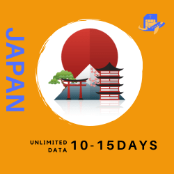 Japan Travel Sim Card | 10 or 15 Days | 500MB – 750MB/Day (Unlimited Data at 256kbps)