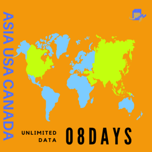 USA & Canada & China & ASIA Travel Sim Card | 8 Days | 5GB (Unlimited Data at 128kbps)