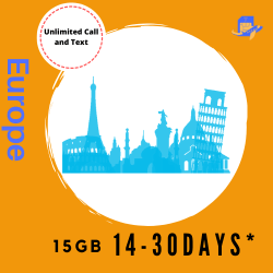 Europe & UK Travel Sim Card | 14 Days | 15GB | Unlimited Call & Text