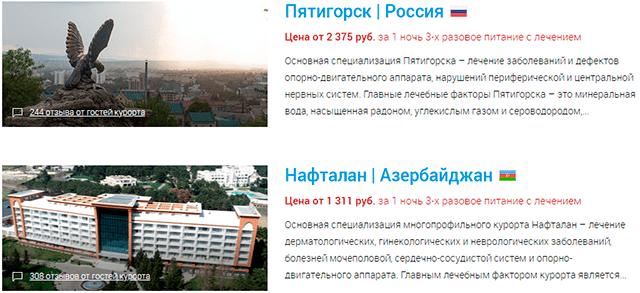 Sanatoriums.com - cамые популярные курорты: Пятигорск и Нафталан