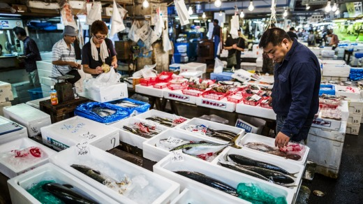Buyers and sellers at the Tsukiji fish market in Tokyo.