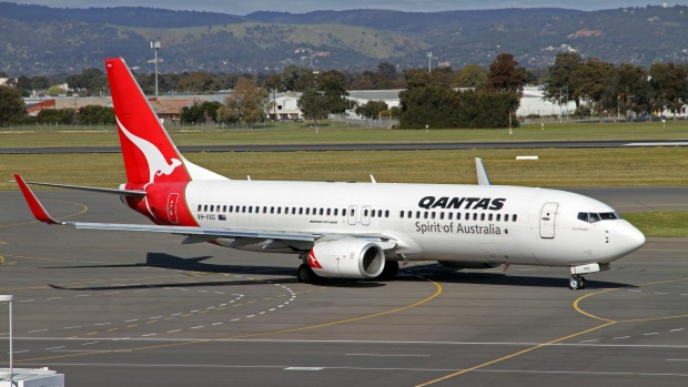 A Qantas Boeing 737-800 aircraft. The large turbofan engine requires a greater intake of air than a turbojet engine.