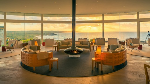 The Great Room at Southern Ocean Lodge is a soothing space where you can watch the pounding seas.