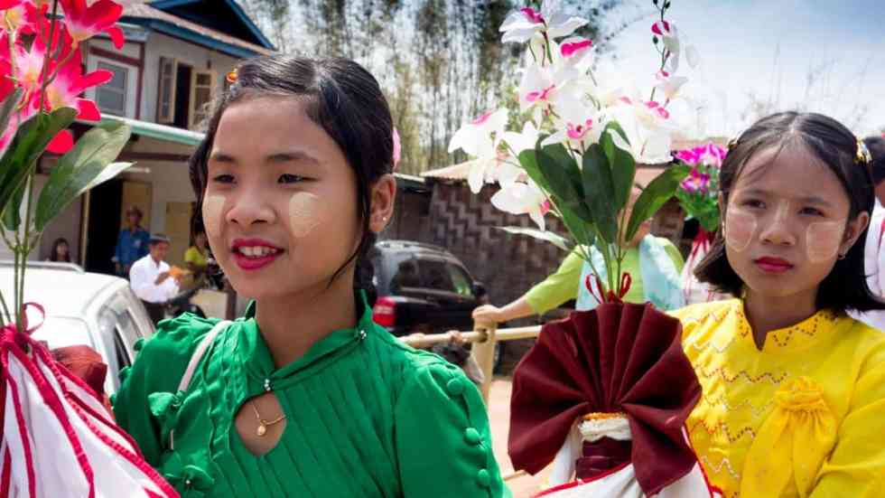 Girls attending the procession, Myanmar