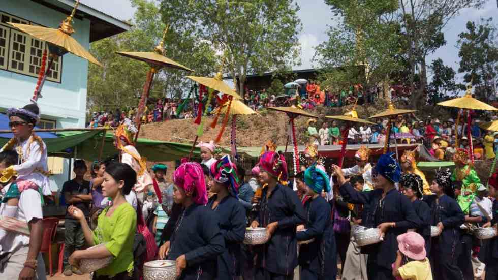 Colorful music procession to temple , Myanmar