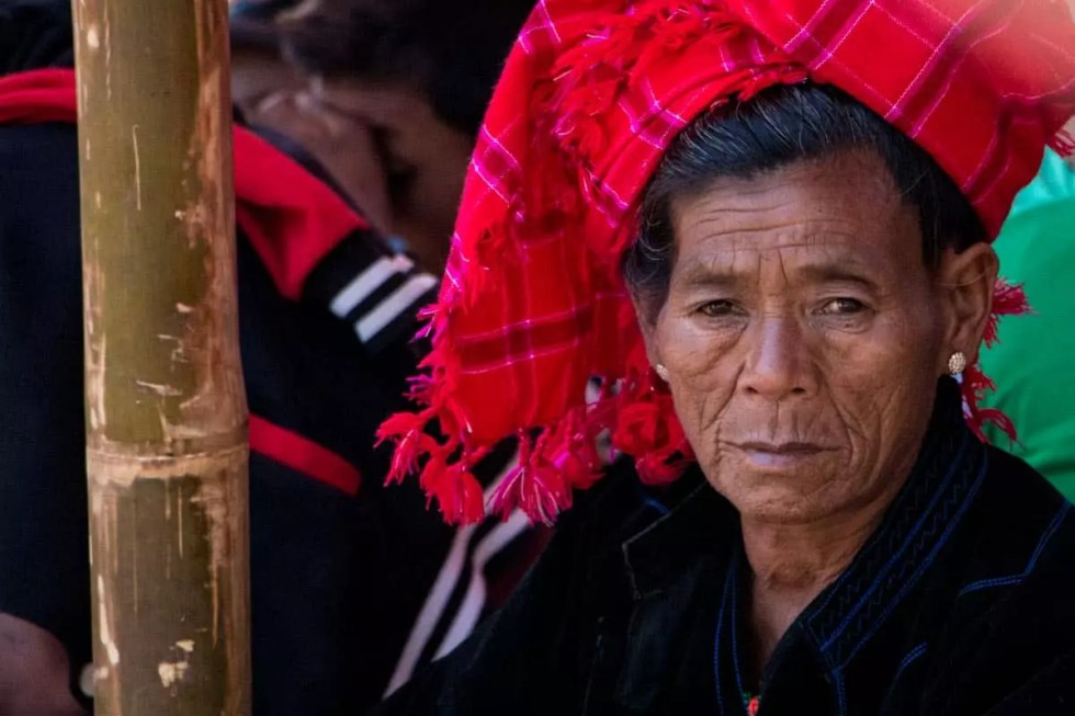 Woman from Pa-Oh tribe attending Novitiation ceremony, Myanmar