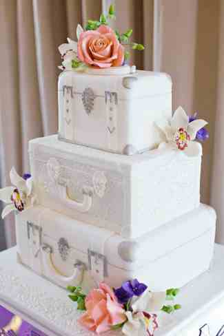 Travel theme suitcase wedding cake