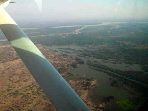 Flying into the Selous Game Reserve