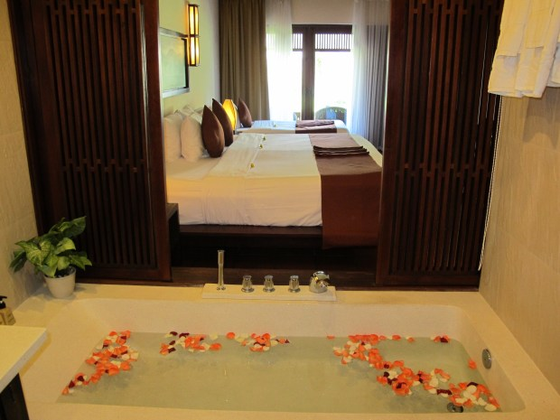Palm Garden Resort Hoi An - looking from the bathroom into the bedroom