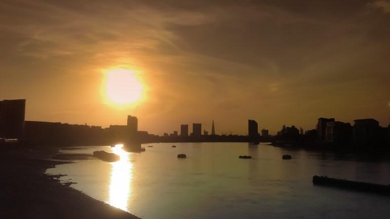 Sunsetting towards the shard over the river thames, London, UK